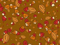 Nutty wallpaper. Abstract nutty mixed nuts wallpaper background design Stock Images