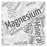 Nutzen des Magnesiumwort-Wolkenkonzeptes Stockfoto