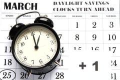 Nutzung des Tageslichtss-Frühling Vorwärts-Sonntag an 1:00 a M Lizenzfreie Stockfotos