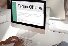 Nutzungsbedingungen-Bedingungs-Regel-Politik-Regelungs-Konzept Stockfotografie