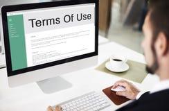 Nutzungsbedingungen-Bedingungs-Regel-Politik-Regelungs-Konzept Lizenzfreie Stockfotos