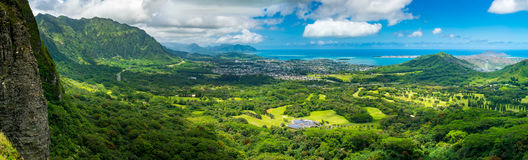 Nuuani Pali Lookout - Oahu. A panoramic picture of the Nu`uani Pali lookout Royalty Free Stock Image
