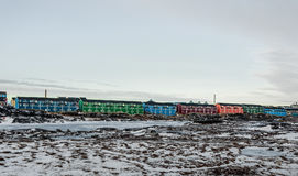 Nuuk city living blocks with colorful long buildings Nuuk, Green Royalty Free Stock Images