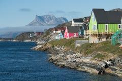 Nuuk, het kapitaal van Groenland stock afbeeldingen