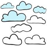 Nuvem abstrata do esboço da garatuja da tração da mão no fundo branco Fotos de Stock