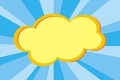 Nuvem amarela no fundo azul Fotografia de Stock