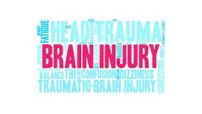 Nuvem animado da palavra da lesão cerebral ilustração do vetor