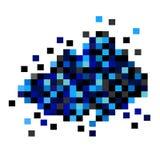 Nuvem azul dos pixéis em um fundo branco Fotografia de Stock Royalty Free