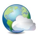 Nuvem baseada compartilhando do ícone global do conceito Imagens de Stock