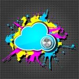 Nuvem bonito do grunge com botão do cromo Fotografia de Stock