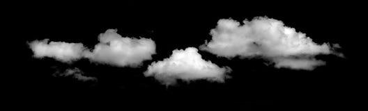 Nuvem branca céu preto isolado do fundo Imagens de Stock