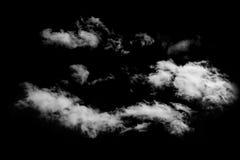 Nuvem branca céu preto isolado do fundo Fotos de Stock Royalty Free