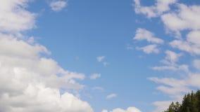 A nuvem branca que corre através do céu azul, nuvem inchado de rolamento está movendo-se em um dia de verão vídeos de arquivo