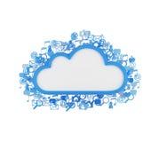 Nuvem com ícones Foto de Stock Royalty Free