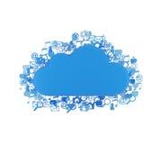 Nuvem com ícones Fotos de Stock