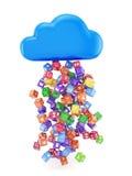 Nuvem com ícones da aplicação Fotografia de Stock Royalty Free