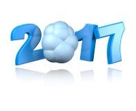 Nuvem 2017 com um fundo branco Fotos de Stock Royalty Free