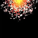Nuvem da explosão de Grey Pieces Fly no ar Ilustração do Vetor