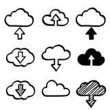 A nuvem da garatuja da tração da mão dá forma à coleção Ícones Fotografia de Stock Royalty Free