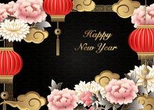 Nuvem da lanterna da flor da peônia do relevo do ouro retro chinês e quadro cor-de-rosa roxos da estrutura ilustração stock