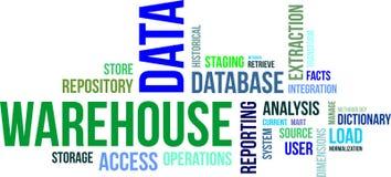 Nuvem da palavra - armazém de dados Fotografia de Stock