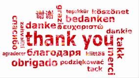 A nuvem da palavra com as palavras agradece-lhe em línguas diferentes video estoque