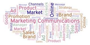 Nuvem da palavra com comunicações de mercado do texto ilustração royalty free