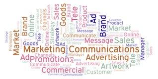 Nuvem da palavra com comunicações de mercado do texto ilustração do vetor