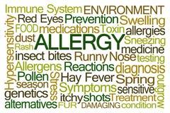 Nuvem da palavra da alergia Imagens de Stock