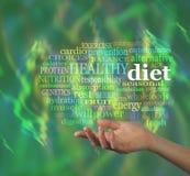 Nuvem da palavra da dieta saudável Fotografia de Stock Royalty Free