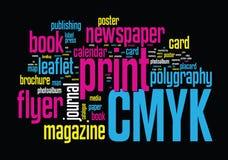 Nuvem da palavra da impressão Fotos de Stock