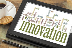 Nuvem da palavra da inovação Fotos de Stock