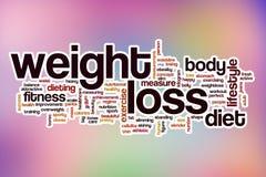 Nuvem da palavra da perda de peso com fundo abstrato imagens de stock