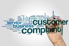 Nuvem da palavra da queixa do cliente no fundo cinzento foto de stock royalty free