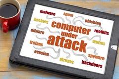 Nuvem da palavra da segurança da rede informática fotografia de stock