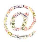 Nuvem da palavra da usabilidade do Web isolada Foto de Stock Royalty Free