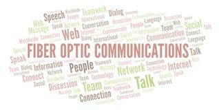 Nuvem da palavra das comunicações da fibra ótica ilustração royalty free