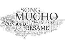 Nuvem da palavra das cordas e dos poemas líricos da guitarra de Besame Mucho Imagens de Stock