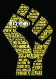 Nuvem da palavra das mulheres negras ilustração stock