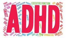 Nuvem da palavra de ADHD ilustração stock