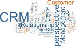 Nuvem da palavra de CRM fotografia de stock royalty free