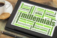Nuvem da palavra de Millennials na tabuleta foto de stock royalty free