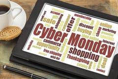 Nuvem da palavra de segunda-feira do Cyber Fotos de Stock