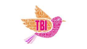 Nuvem da palavra de TBI ilustração royalty free