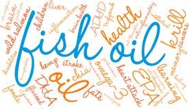 Nuvem da palavra do óleo de peixes ilustração do vetor