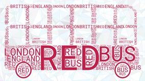 Nuvem da palavra do ônibus de Londres isolada no fundo azul poligonal ilustração royalty free