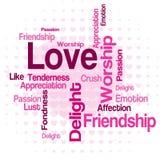 Nuvem da palavra do amor ilustração do vetor