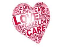 Nuvem da palavra do amor na forma do amor Imagens de Stock Royalty Free