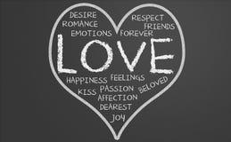 Nuvem da palavra do amor no coração Fotografia de Stock Royalty Free