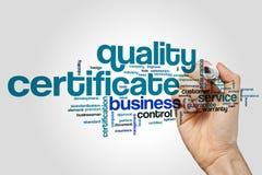 Nuvem da palavra do certificado da qualidade imagens de stock